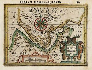 Strait of Magellan South America Chile Magellanstraße map Karte Mercator 1607