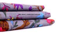 Indian Hand Grey Bird Print Dressmaking Cotton Fabric Craft Sewing By 5/10 Yard