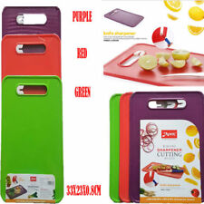Choping Board Premium Quality Plastic With Knife Sharpner Red Green Purple Color