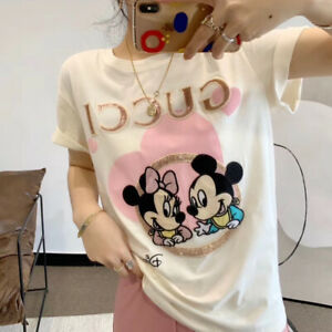 Authentic New Gucci Disney X Mickey T Shirt Women Size M NWT Tee White Meanie