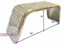 "(2)Boat or Utility Trailer Fenders Square Aluminum Diamond Plate 10"" x 32"" x 13"""