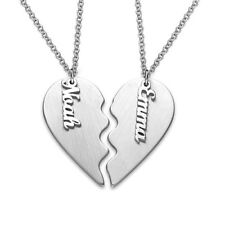 2 Names Couple Heart Necklace in Matte Silver - Personalized (USA Seller)