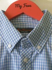 BEN SHERMAN SHIRT Sky Blue Checks Button Down Long Sleeve Mod NEW Sz S Ch 40""