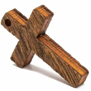 100x Small Wood Cross Pendants Charms Wooden Cutouts with Hole for Crafts, 1 in.