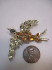 OLD BIRD ANIMAL COSTUME JEWELRY BROOCH RHINESTONE PIN/BROOCH