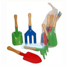 Metal Garden Tools 4 Pcs Wooden Handle Outdoor Playset Kids Beach Sandbox Toy