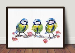 Three Little Blue Tits ,Original ,Watercolour ,Print,Card,Gift,Wildlife,Art,
