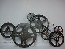 LARGE METAL DISPLAY* Cinema Theater Movie Reels Home Wall Art Plaque Ribbon Film