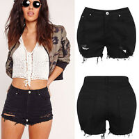 Womens High Waisted Black Stretch Ripped Ladies Denim Shorts Jeans Hot Pants
