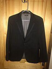 Sisley Black Men's Tuxedo Jacket With Satin Trim On Collar Says 46 Italian 36 UK