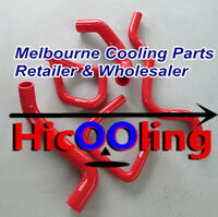 Red silicone radiator heater hose kit for Ford Falcon BA BF XR6 Turbo