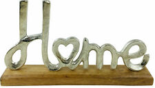 Silver Metal HOME Letters Word Ornament on Wooden Base Aluminium Home Decor