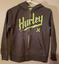 Hurley Womens Junior Hoodie Size S/P Zipper Front Sweatshirt Gray Neon Green