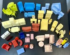 Vintage Lot of 70+ Plastic Dollhouse Furniture & Dolls by MAR, Renwal and more