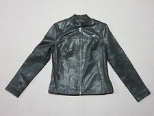 TRUE RELIGION WOMENS BLACK LEATHER JACKET W/ EMBROIDERED LOGO SIZE SMALL NEW