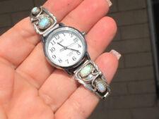 Vintage Navajo Sterling Silver & Opal Design Watch Tips w/Timex Watch