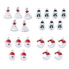 5Pcs XMS Enamel Charm Christmas Tree/Snowman/Santa Claus/Moon Beads Pendant  DIY
