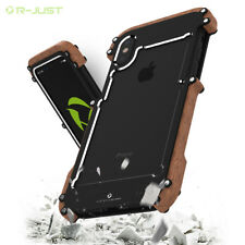 Armor R-just Metal  Wooden Wood Frame Bumper Shockproof Case Cover For iPhone X