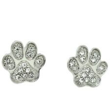 Pawprint Dog Cat Kitty Clear Jewelry Paw Earrings Made With Swarovski Crystal