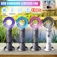 Portable Bladeless Hand Held Cooler Fan USB No Leaf Handy Cool Summer Fan