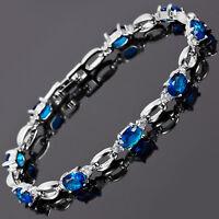 Sarotta Jewelry Fashion Blue Sapphire White Gold Plated Tennis Bracelet