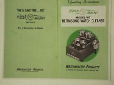 WATCHMASTER WT ULTRASONIC CLEANING MACHINE OWNER'S MANUAL  COLOR COPY