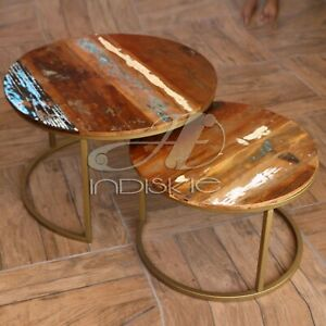 Recycled Wood Gold Finish Metal Side Tables Living Room Nested Coffee Set Of Two