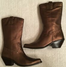 Coldwater Creek Women's 6.5 M Bronze Leather Western Boots Square Toe Riding