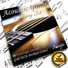 Adagio Acoustic Guitar Strings AntiRust Coating Light 10s Bronze 80/20 Pack Set