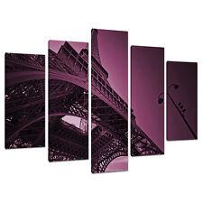 Set di 5 VIOLA PRUGNA Wall Art Canvas immagini Parigi Francia stampa 5015