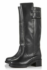 TOPSHOP DADONIS BLACK LEATHER HEAVY CHUNKY SOLE MILITARY KNEE BOOTS 9 42 £110!