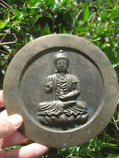 "Chinese bronze mirror with sitting Buddha on lotus flower, 6""=15.8 cm; Rare"