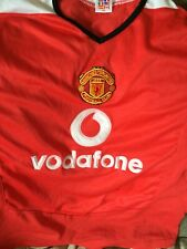 MUFC MANCHESTER UNITED YOUTH KIDS HOME SOCCER JERSEY SZ Large VODAFONE RED