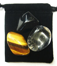 LEO ZODIAC / ASTROLOGICAL Tumbled Crystal Healing Set = 3 Stones + Pouch + Card