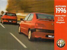 Alfa Romeo Dealer List Map Autumn 1996 UK Market Foldout Brochure