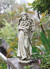 """19.75"""" Angel Hugging Bouquet of Flowers Outdoor Garden Yard Decor Statue 66453"""