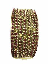 Chamak by Priya Kakkar Red & Yellow Crystal Set of 7 Gold tone Bangles
