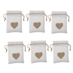 6x Vintage Burlap Hearts Print Candy Gift Bags Wedding Party Favor Bags Pouch