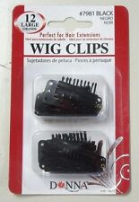 12 LARGE Black Wig Clips - DONNA # 7981 *** FREE SHIPPING ***