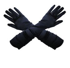Long Black Satin Gloves - Half Price