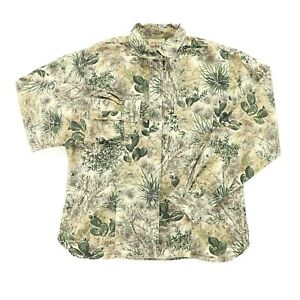 GameGuard Women Large Long Sleeve Button Shirt Desert Camouflage Camo Green