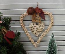 Christmas Rustic Heart Wreath Decoration, Xmas Festive Wall Hanger