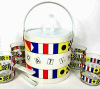 Vtg NAUTICAL Glasses Ice Bucket  Set of 7 Boating Retro Barware All Pack INSIDE