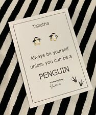 Penguin Gift Sterling Silver Personalised Earrings Saccos