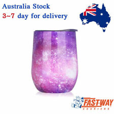 Wine Cup Double Wall Vacuum Insulated Stemless Glass Wine Cup with Lid 250ml