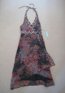 Ladies PARTY DOLL Floral Sequin Halter Dress Brand New Size 10