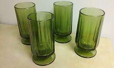 4 Vintage Indiana Colony Nouveau Green Iced Tea Tumblers