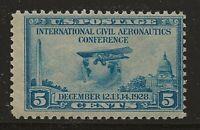 US Scott #650, Single 1928 Globe & Airplane 5c FVF MNH