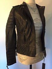 BODA SKINS Black Leather Women's ladies Biker Moto Jacket Size 2 Quilted coat