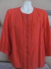 NWT~COLDWATER CREEK Weekend Jacket Orange Linen~3/4 Sleeve Zip Front~Plus 18